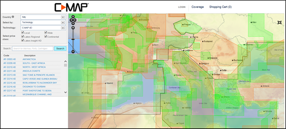 Le coperture C-MAP 4D, Local (verde) o Wide (arancio)